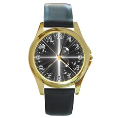 Black And White Bubbles On Black Round Gold Metal Watch