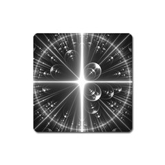 Black And White Bubbles On Black Square Magnet