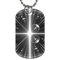 Black And White Bubbles On Black Dog Tag (Two Sides)