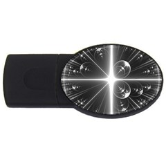 Black And White Bubbles On Black USB Flash Drive Oval (2 GB)