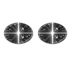 Black And White Bubbles On Black Cufflinks (oval)