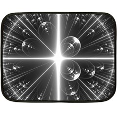 Black And White Bubbles On Black Double Sided Fleece Blanket (mini)