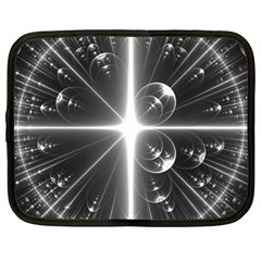 Black And White Bubbles On Black Netbook Case (xl)