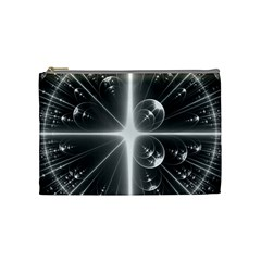 Black And White Bubbles On Black Cosmetic Bag (Medium)