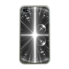 Black And White Bubbles On Black Apple iPhone 4 Case (Clear)