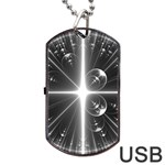 Black And White Bubbles On Black Dog Tag USB Flash (One Side) Front