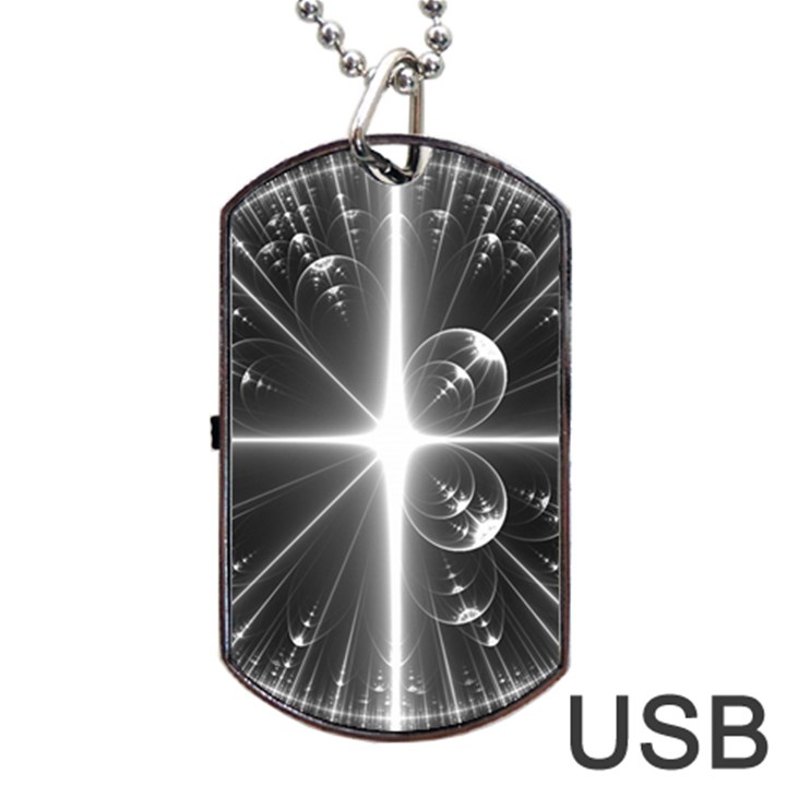 Black And White Bubbles On Black Dog Tag USB Flash (One Side)