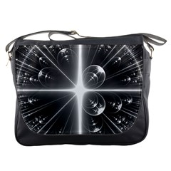 Black And White Bubbles On Black Messenger Bags