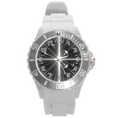 Black And White Bubbles On Black Round Plastic Sport Watch (l)