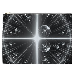 Black And White Bubbles On Black Cosmetic Bag (XXL)