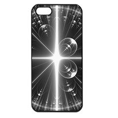 Black And White Bubbles On Black Apple iPhone 5 Seamless Case (Black)