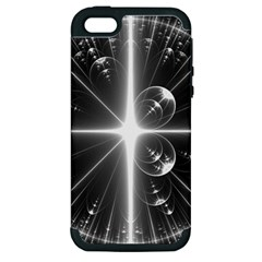 Black And White Bubbles On Black Apple Iphone 5 Hardshell Case (pc+silicone)
