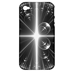 Black And White Bubbles On Black Apple iPhone 4/4S Hardshell Case (PC+Silicone)