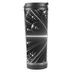 Black And White Bubbles On Black Travel Tumbler