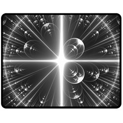 Black And White Bubbles On Black Double Sided Fleece Blanket (medium)
