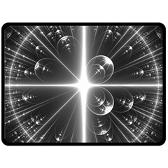 Black And White Bubbles On Black Double Sided Fleece Blanket (Large)