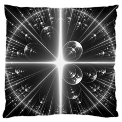 Black And White Bubbles On Black Large Flano Cushion Case (One Side)