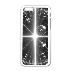 Black And White Bubbles On Black Apple Iphone 6/6s White Enamel Case