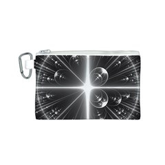 Black And White Bubbles On Black Canvas Cosmetic Bag (S)