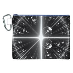 Black And White Bubbles On Black Canvas Cosmetic Bag (XXL)