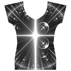 Black And White Bubbles On Black Women s V-Neck Cap Sleeve Top