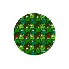 Seamless Little Cartoon Men Tiling Pattern Magnet 3  (round)
