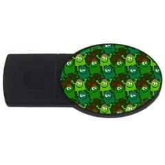 Seamless Little Cartoon Men Tiling Pattern USB Flash Drive Oval (2 GB)