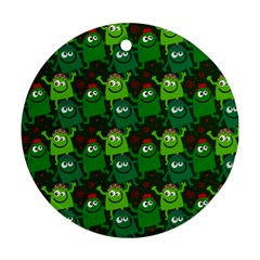 Seamless Little Cartoon Men Tiling Pattern Round Ornament (two Sides)