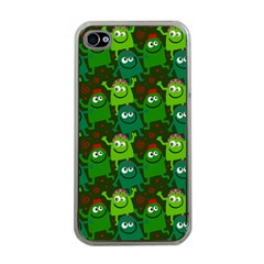 Seamless Little Cartoon Men Tiling Pattern Apple iPhone 4 Case (Clear)