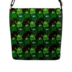 Seamless Little Cartoon Men Tiling Pattern Flap Messenger Bag (l)