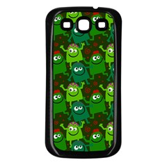 Seamless Little Cartoon Men Tiling Pattern Samsung Galaxy S3 Back Case (Black)
