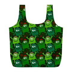 Seamless Little Cartoon Men Tiling Pattern Full Print Recycle Bags (L)