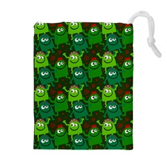 Seamless Little Cartoon Men Tiling Pattern Drawstring Pouches (extra Large)