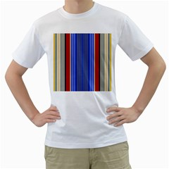 Colorful Stripes Background Men s T Shirt (white) (two Sided)