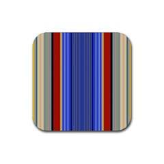 Colorful Stripes Background Rubber Square Coaster (4 pack)