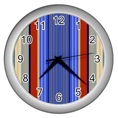 Colorful Stripes Background Wall Clocks (silver)