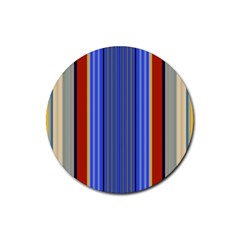Colorful Stripes Background Rubber Round Coaster (4 Pack)