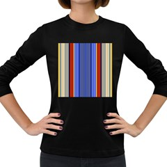Colorful Stripes Background Women s Long Sleeve Dark T Shirts