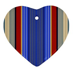 Colorful Stripes Background Heart Ornament (two Sides)