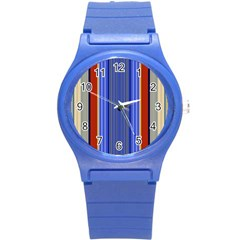 Colorful Stripes Background Round Plastic Sport Watch (S)