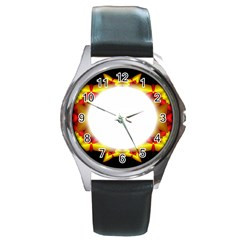 Circle Fractal Frame Round Metal Watch