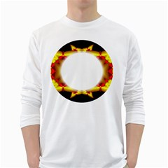 Circle Fractal Frame White Long Sleeve T Shirts