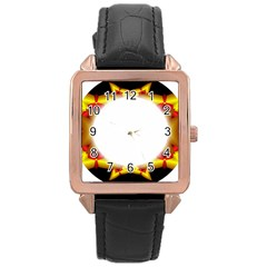 Circle Fractal Frame Rose Gold Leather Watch