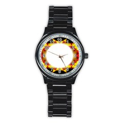 Circle Fractal Frame Stainless Steel Round Watch