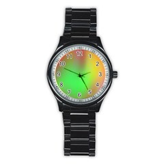 November Blurry Brilliant Colors Stainless Steel Round Watch