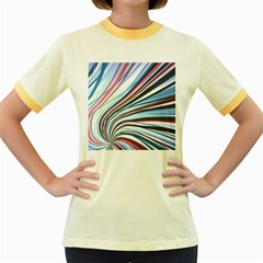 Wavy Stripes Background Women s Fitted Ringer T Shirts