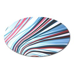 Wavy Stripes Background Oval Magnet