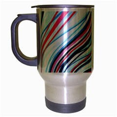 Wavy Stripes Background Travel Mug (silver Gray)
