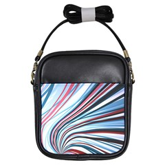 Wavy Stripes Background Girls Sling Bags