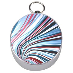Wavy Stripes Background Silver Compasses
